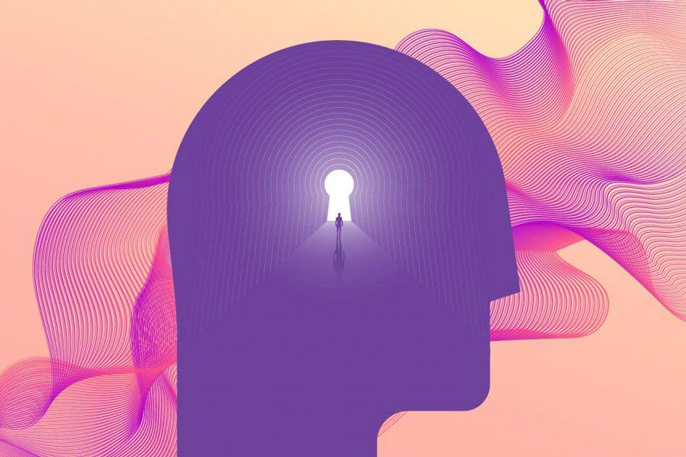 A person inside a purple silhouette of a head with a design in the background