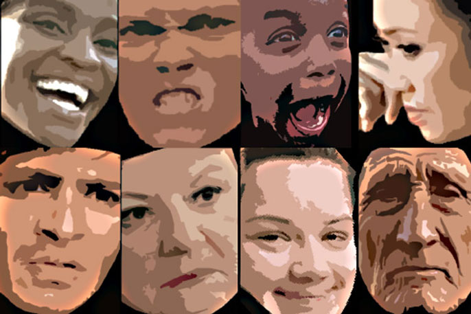 A series of different faces making different facial expressions
