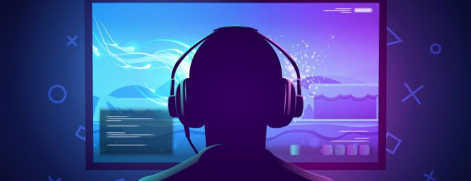 Illustration of person wearing headphones looking at purple screen