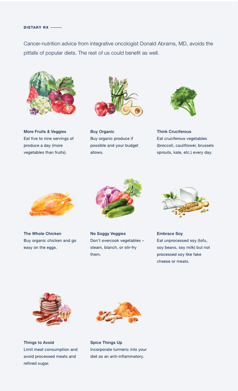 Chart of different foods evaluated for their health benefits