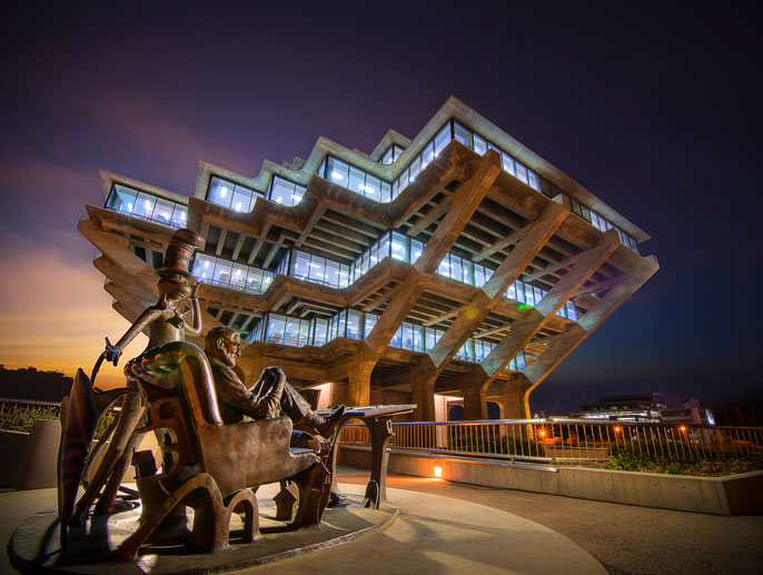 Geisel Library at night