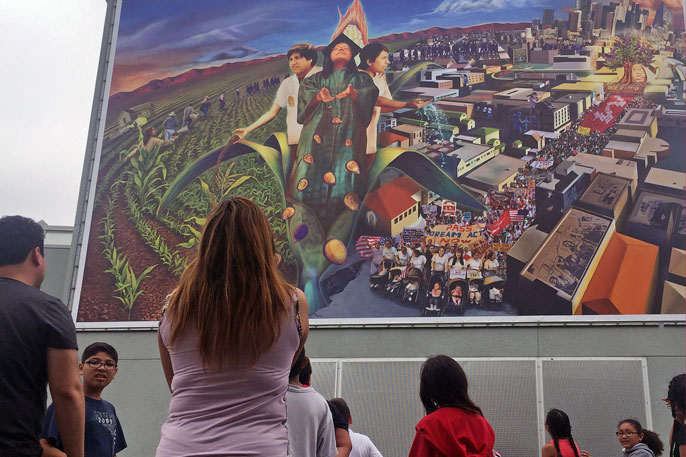 "The mural ""Gente del Maize"" features a student Baca taught at UCLA and serves as an inspiration to the kids at the Judith F. Baca Arts Academy."
