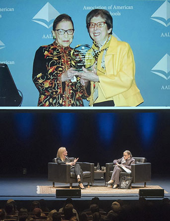 Ginsburg with Kay; Ginsburg at the lecture