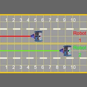 Virtual robot race on a learning tool