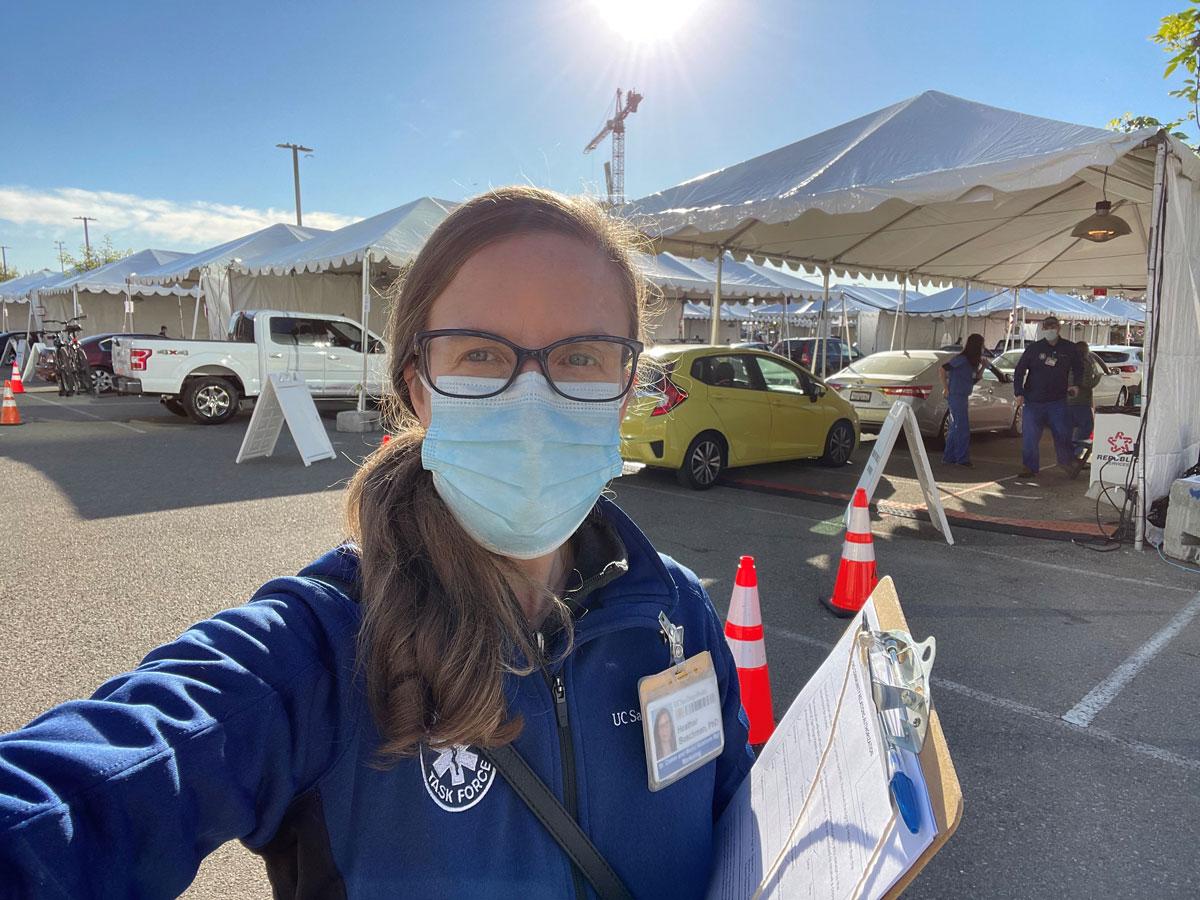 Heather Buschman at vaccination site