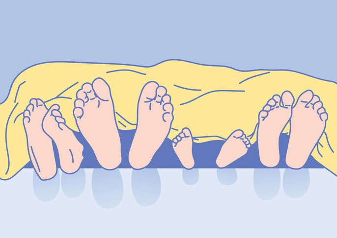 Lots of feet sticking out of bed illustration