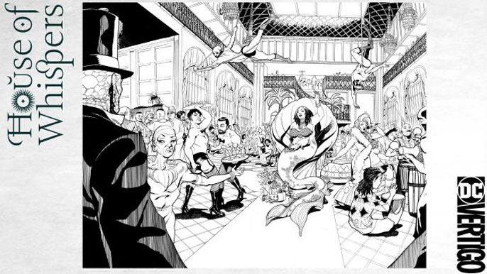 "Inked pages from ""House of Whispers."" In this scene, Erzulie holds a party for her believers."