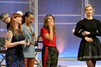 Robin Hunicke on Project Runway with judges and Karlie Kloss