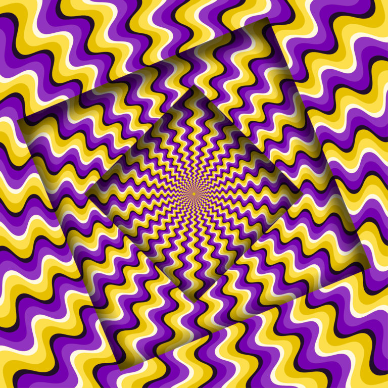 Image of squares covered in yellow and purple squiggles that create an optical illusion that the squares are moving.