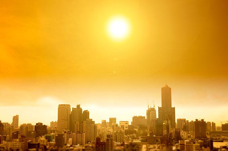 A city bakes through a heat wave