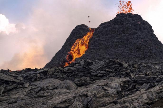 Volcano in Iceland erupting