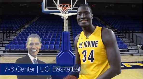 UC Irvine's Mamadou Ndiaye and Obama cutout