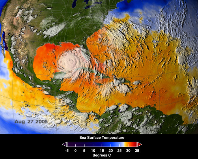 Satellite image, Hurricane Katrina in Gulf of Mexico