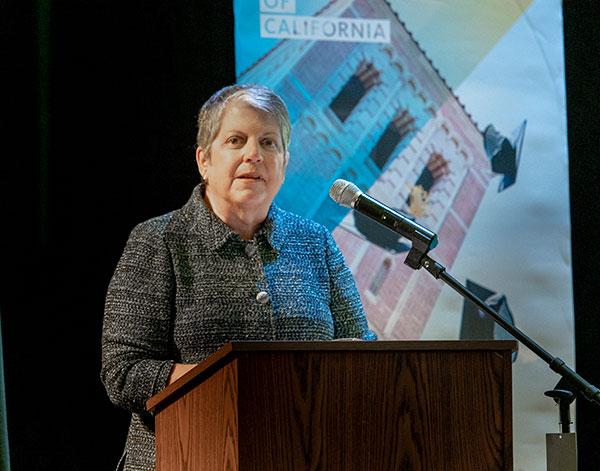 Janet Napolitano at a lectern