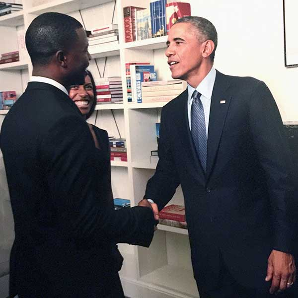 Jermaine Griggs with Obama