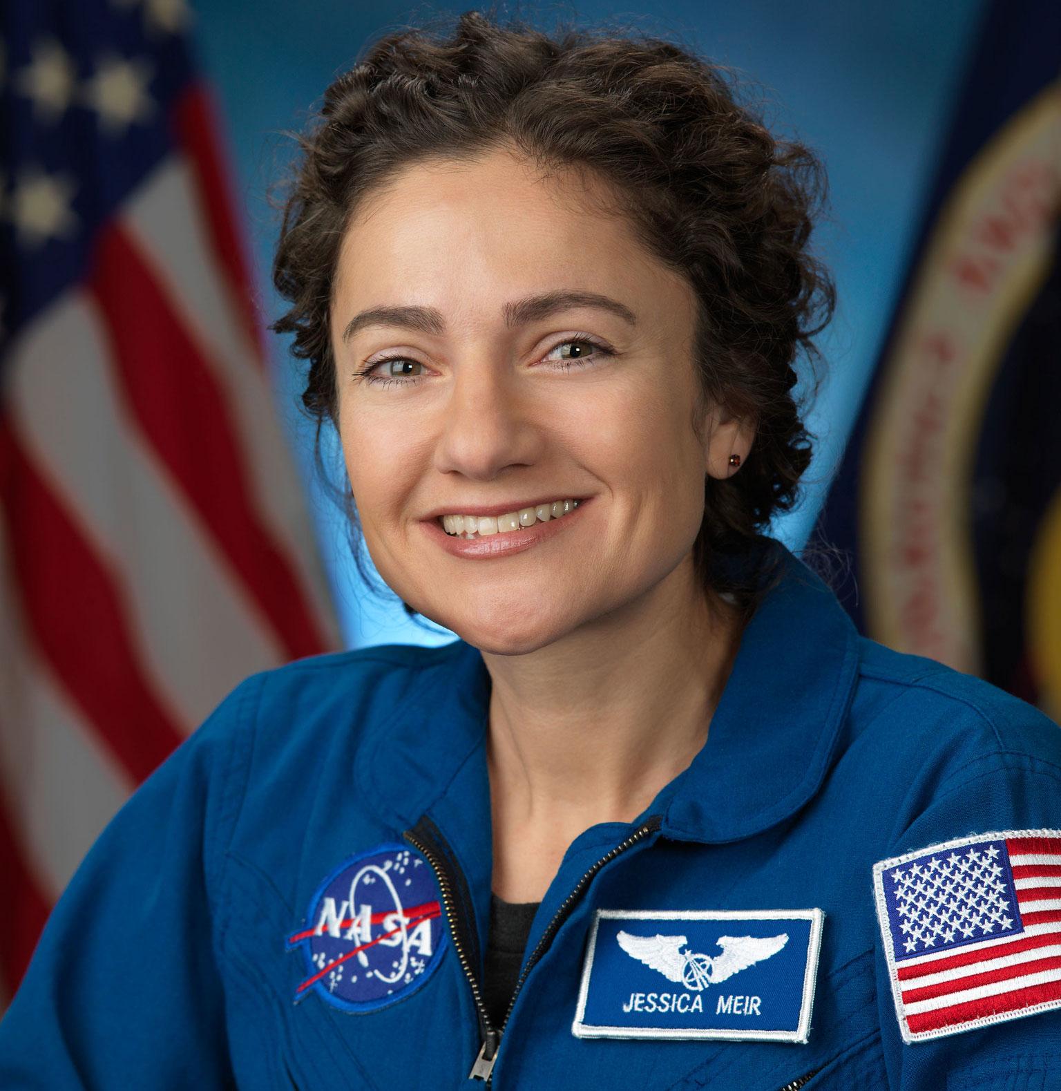Jessica Meir in astronaut suit