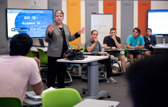 Janet Napolitano lectures a political science class