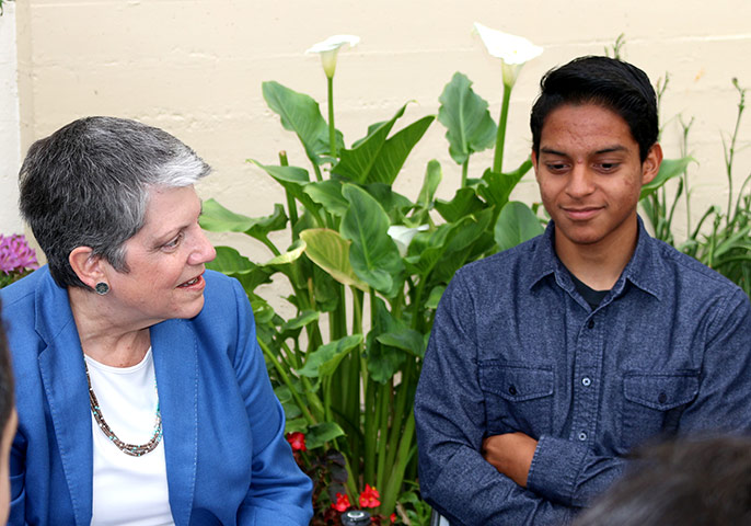 President Napolitano and Santa Ana HS student