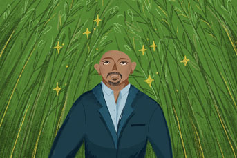 Maz Jobrani in bamboo forest illustration