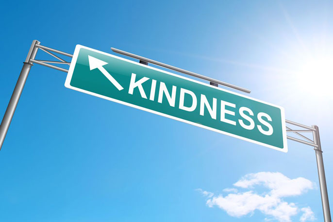 Green kindness sign looks like highway sign