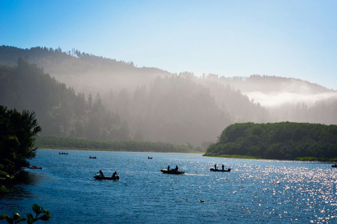 Small boats in the Klamath River, 2019