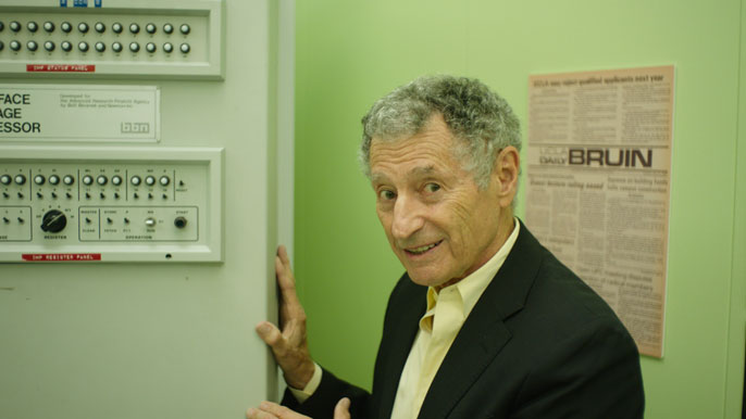 UCLA computer scientist Leonard Kleinrock and the machine he used to send the first message on what would later be known as the internet appear in a new documentary by Werner Herzog.