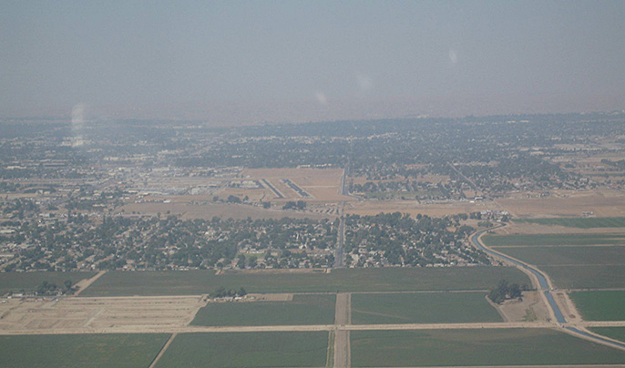 hazy skies over Bakersfield