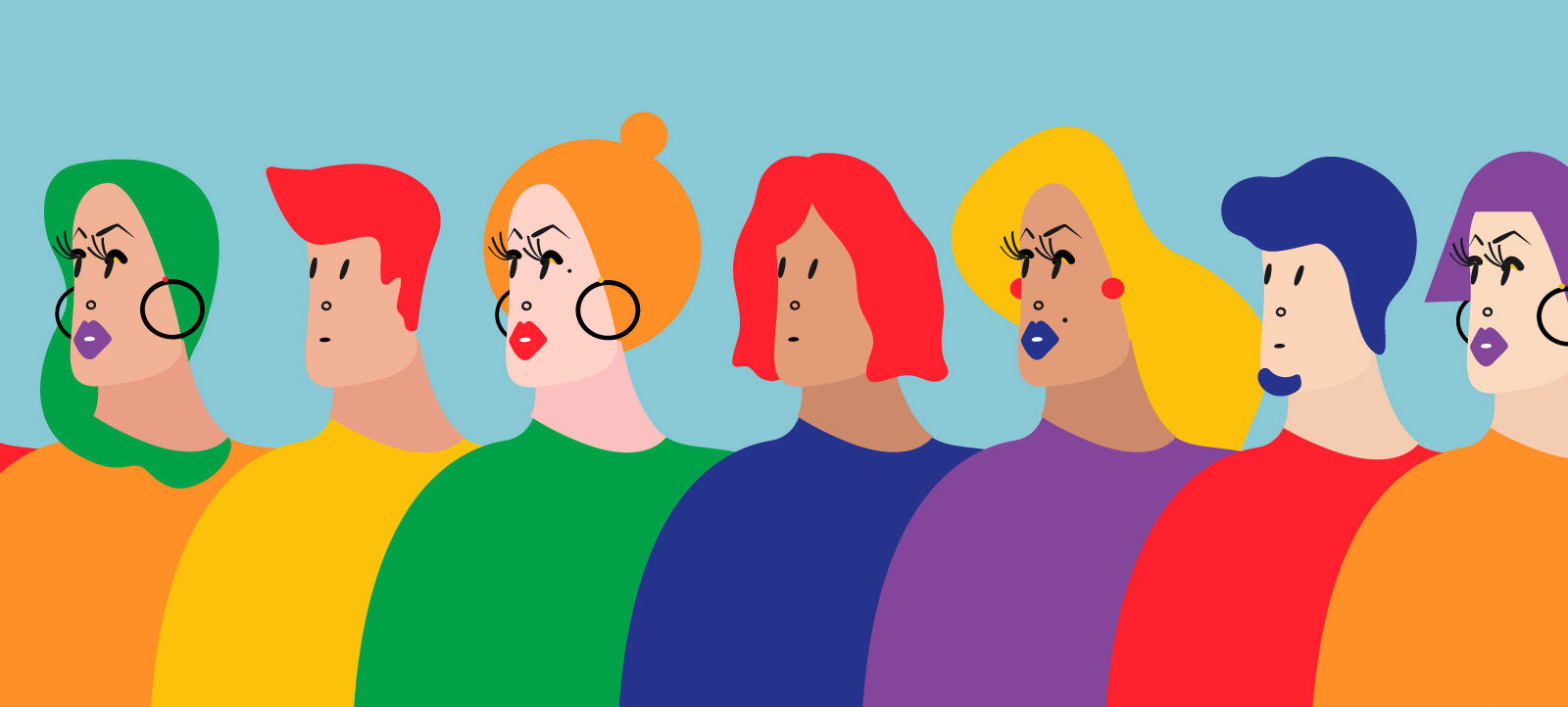 Colorful illustration of LGBTQ individuals