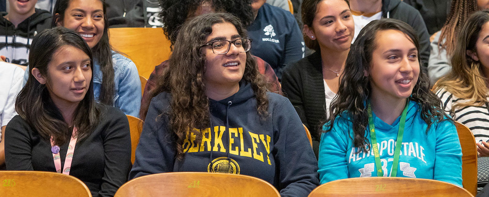Students sitting at Janet Napolitano's Stockton visit