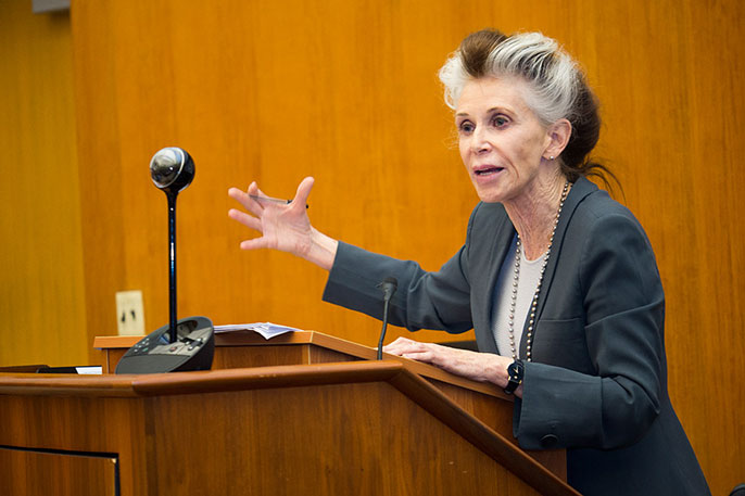 Catharine MacKinnon at the podium