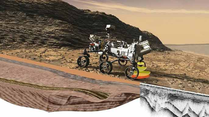 Rendering of the NASA Perseverance rover on Mars