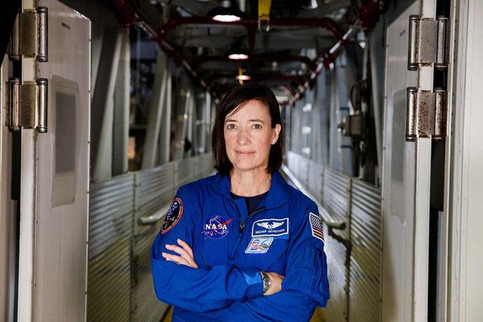 Megan McArthur portrait in NASA blues