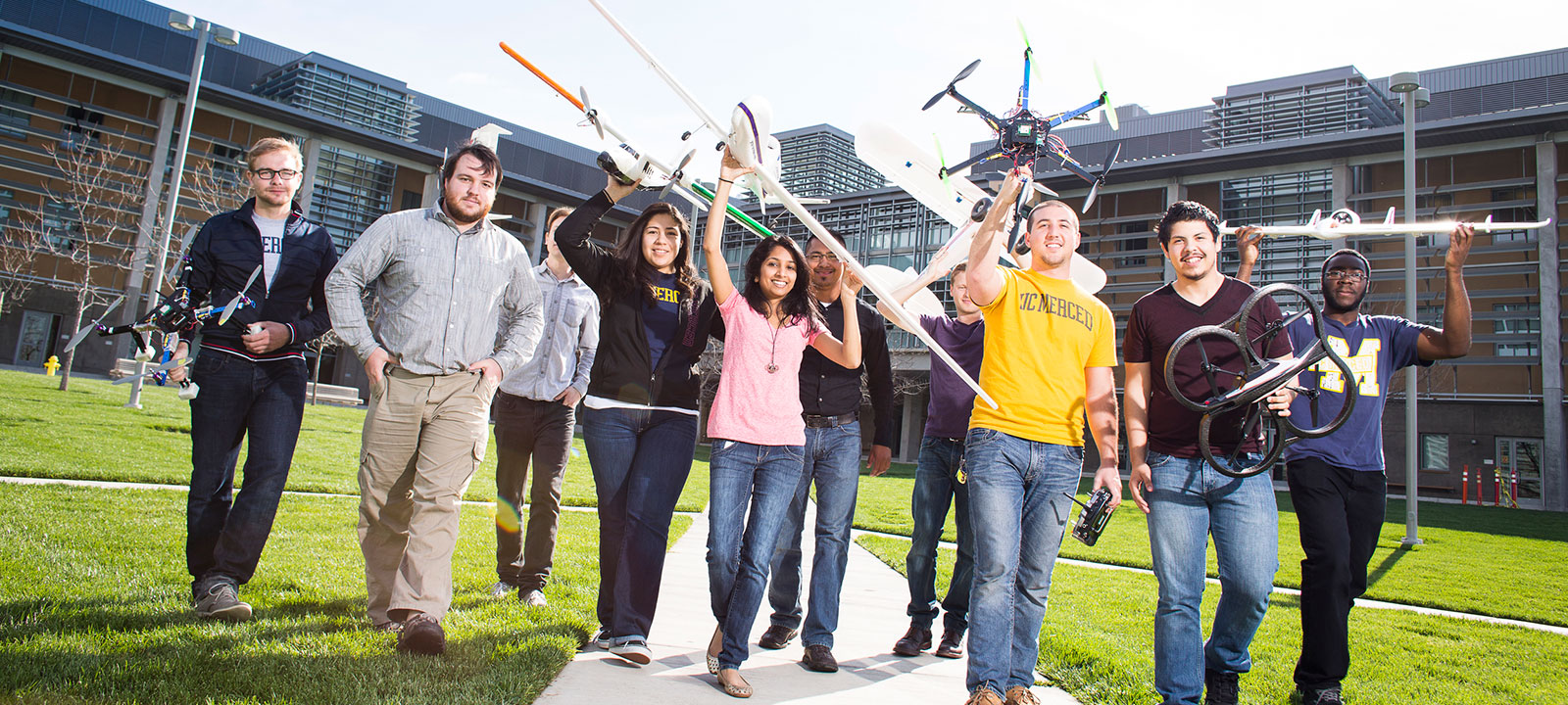 UC Merced banner students drones