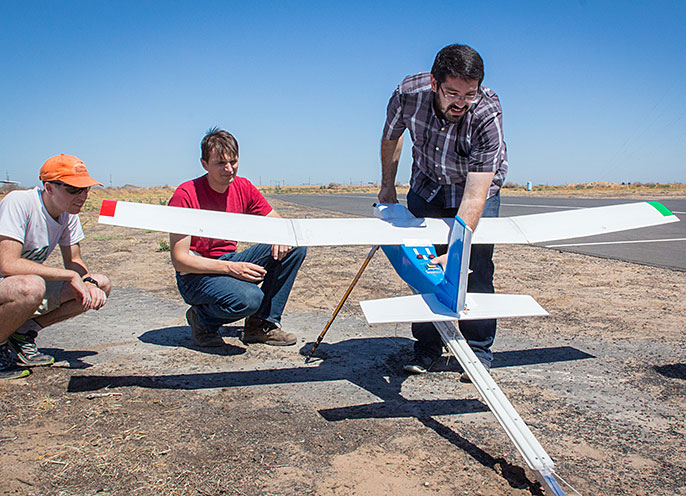 UC Merced students prepare to launch drone