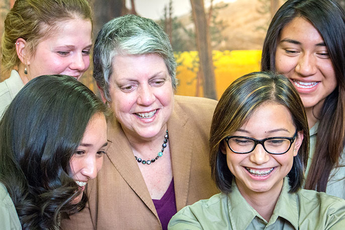 UC President Napolitano and YLP students from UC Merced
