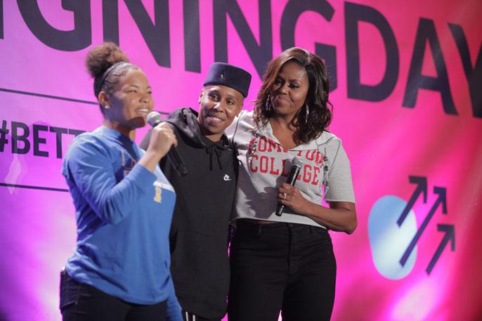 Michelle Obama with Lena Waithe and Genesis Jackson