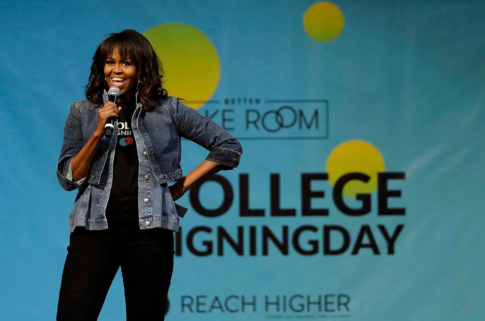 Michelle Obama on stage at College Signing Day