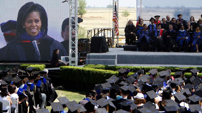Michelle Obama speaking at UC Merced's commencement