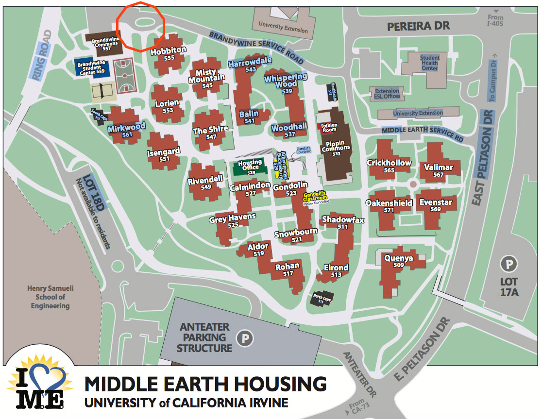 Middle Earth housing map at UC Irvine