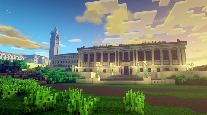 Minecraft screenshot of UC Berkeley