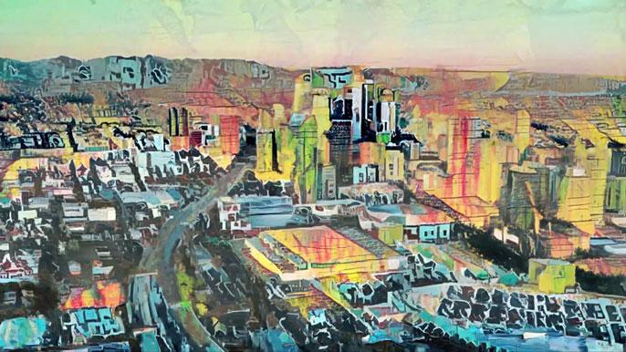 Nate Mohler painted cityscape 'Grunge City'
