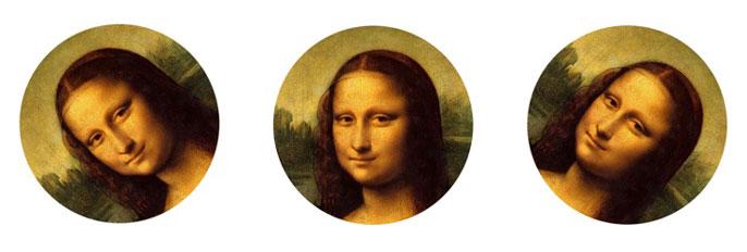 Mona lisa face at 3 angles