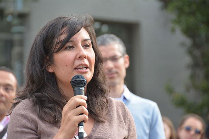 G. Cristina Mora speaks at a UC Berkeley rally