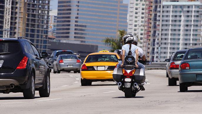 motorcyclist on freeway