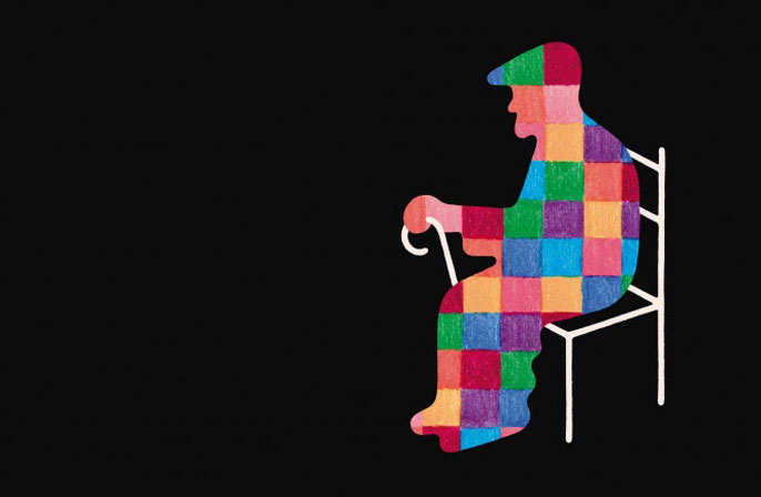 Colorful old man in a chair illustration