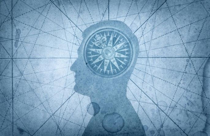 Compass inside someone's brain illustration
