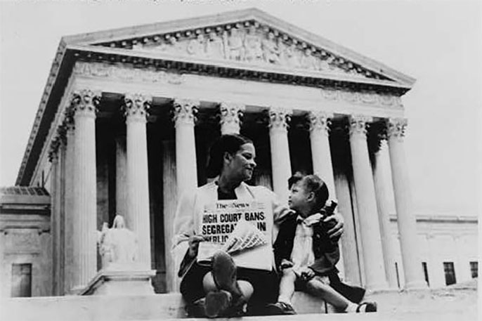 Nettie Hunt with daughter on steps of Supreme Court