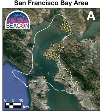 Bay Area BEACON sensor map
