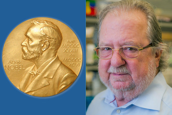 Nobel Prize with James Allison photo next to it
