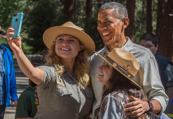 President Obama in Yosemite with UC Merced students